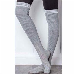 Grey Ribbed Knee High Socks